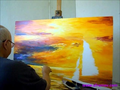 Artist Leonid Afremov painting a new painting of seascape with oil and palette knife