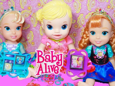 Baby Alive & Frozen Elsa Disney Princess Anna Dolls How To Make DIY RAINBOW LOOM Charms Bracelets