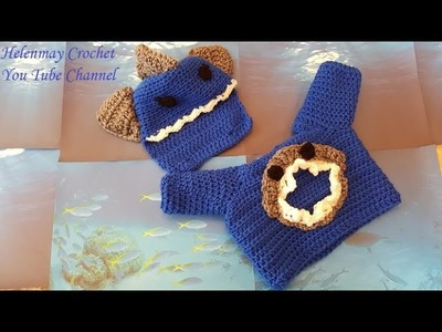 Crochet Easy Baby shark sweater and removable hat DIY tutorial