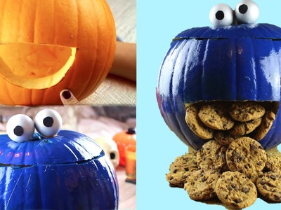 DIY Cookie Monster Pumpkin- Halloween 2015!