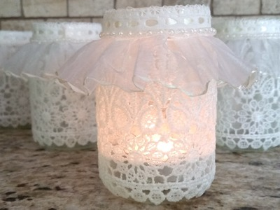 DIY Lace Votive Candleholder vr to sweet milk shoppe's Craft While Recycling Challenge