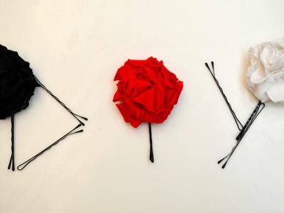 DIY T-shirt Flowers Hair Pins