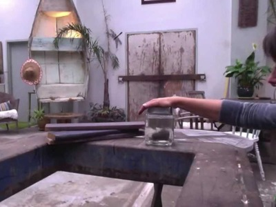 DIY trick to weather wood with steel wool and vinegar. How to make new wood look old.