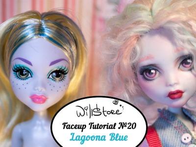 Faceup Tutorial №20 Lagoona Blue OOAK Monster High Cutom doll repaint