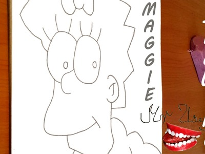 How to draw MAGGIE SIMPSON Face EASY with pencil | draw easy stuff | SPEED ART