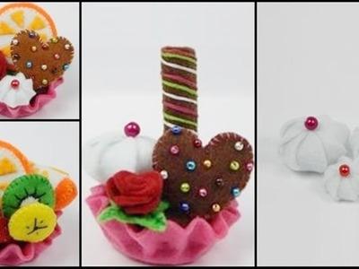 How to make a felt tartlet. cupcake  - part 2 - felt cream DIY (tutorial + free pattern)