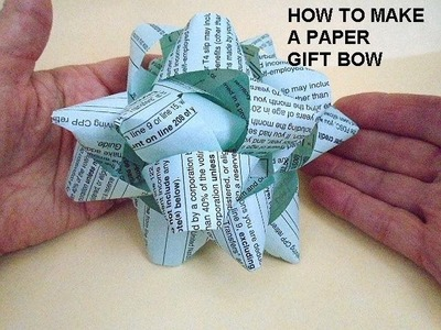 HOW TO  MAKE A PAPER BOW with newspaper, recycle, craft project