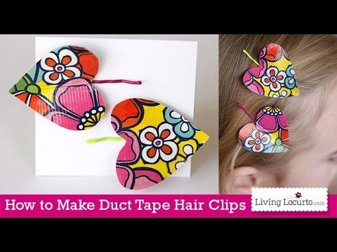 How to Make Duct Tape Heart Hair Clips | Easy Kids Craft
