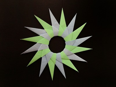 "Modular Origami - Paper ""Ninja Star Blade(10) - 16 pointed"" - Very Easy to make!!"