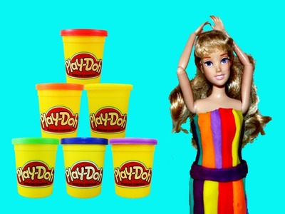 Play Doh Dress Aurora Disney Sleeping Beauty Barbie Doll Rainbow Dress Makeover by DisneyCarToys