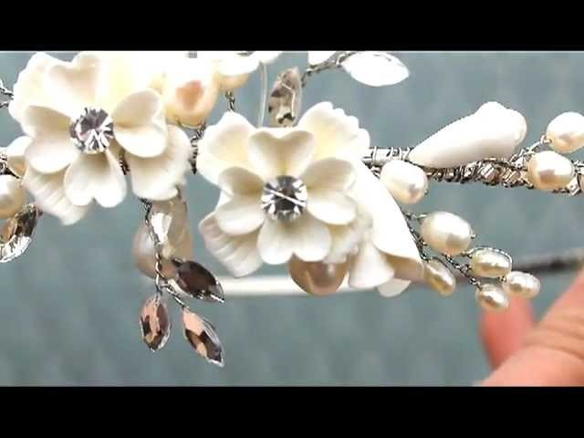 Romantic Ceramic Flower Headband Tiara by Hair Comes the Bride