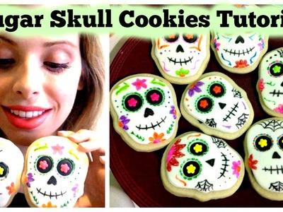 Sugar Skull Cookies Tutorial - Easy Halloween.Day of the Dead DIY