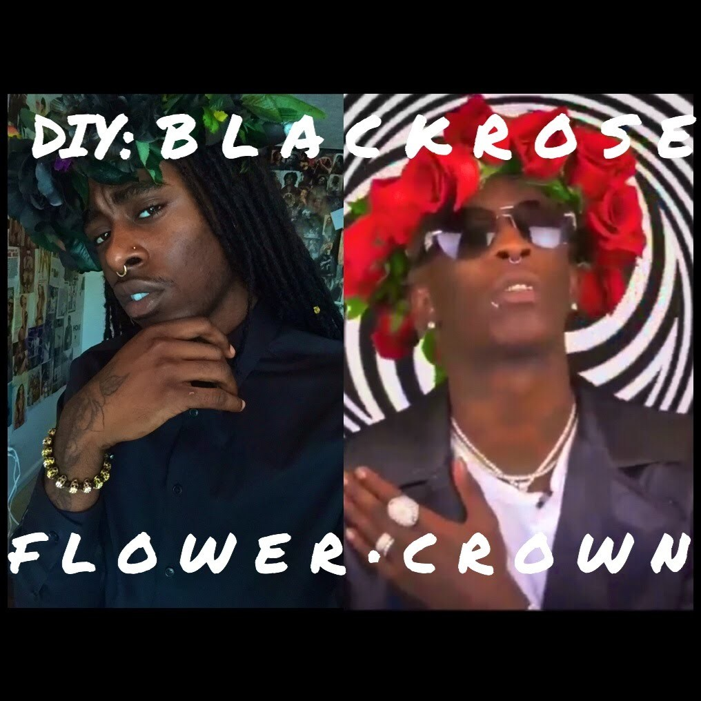 Young Thug Inspired | DIY: Black Rose Flower Crown