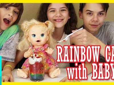 BABY ALIVE EATS RAINBOW CAKE IN A JAR! | KITTIESMAMA