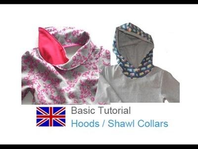 DIY basic sewing tutorial hood, round hood or pointed hood, shawl collars