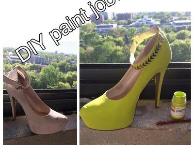 DIY Shoe Painting: Nude to Neon!