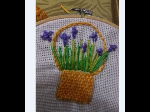 How to Make Hand Embroidery: Flower Basket Stitch - Tutorial .