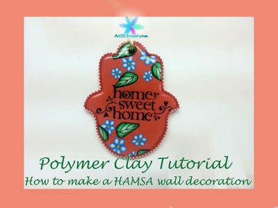 Polymer Clay Tutorial - How to Make a HAMSA Wall Decoration - Lesson #14