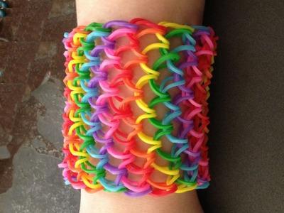 Rainbow Loom : Dragon Scale Cuff Bracelet - How To
