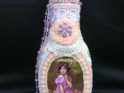 Tutorial - Shabby-Vintage chic Altered Bottle for Kraft Supplies 4 U