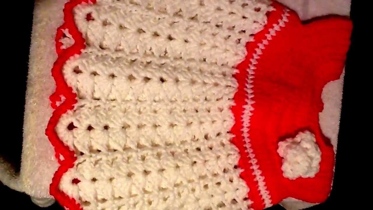 Crochet baby dress, shoes, sunhat.