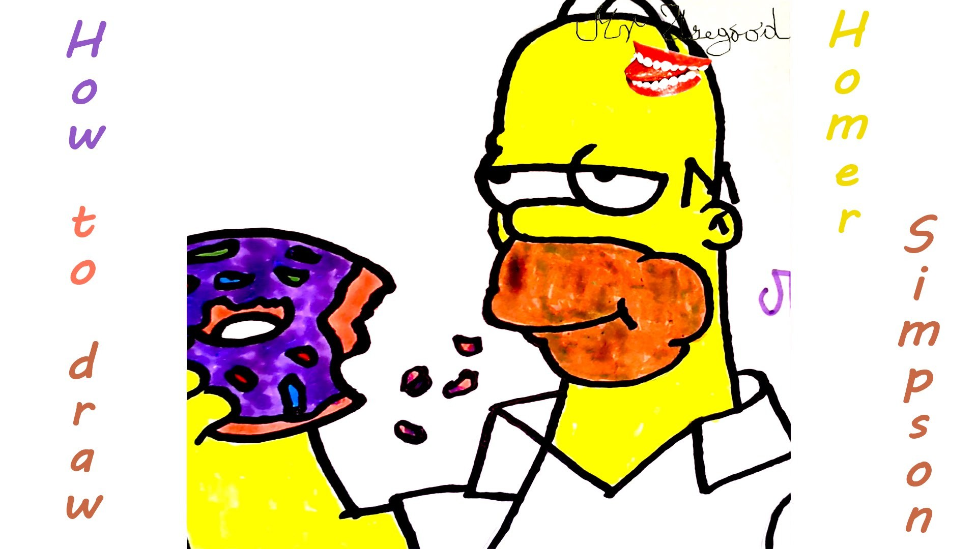 DIY How to draw easy stuff but cool on paper: draw Homer Simpson Eating a donut EASY | SPEED ART
