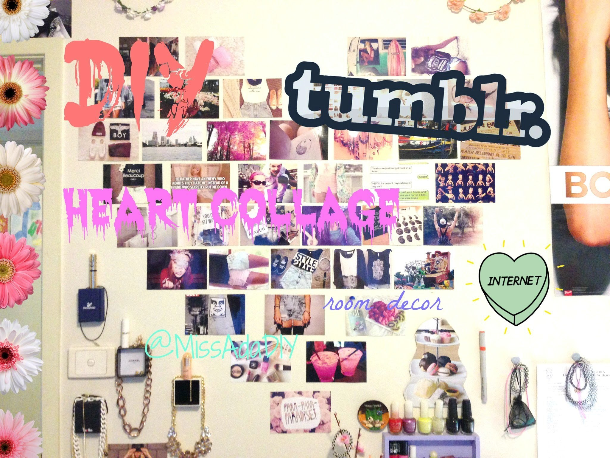 ♡ DIY TUMBLR HEART PHOTO WALL COLLAGE ♡ FIRST VIDEO ☺