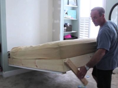 DIY wall bed for under $150  (bed is around $75, shelves make up the rest)