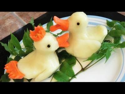 How To Make Potato Rubber Ducks | Potato Art | Vegetable Carving Garnish