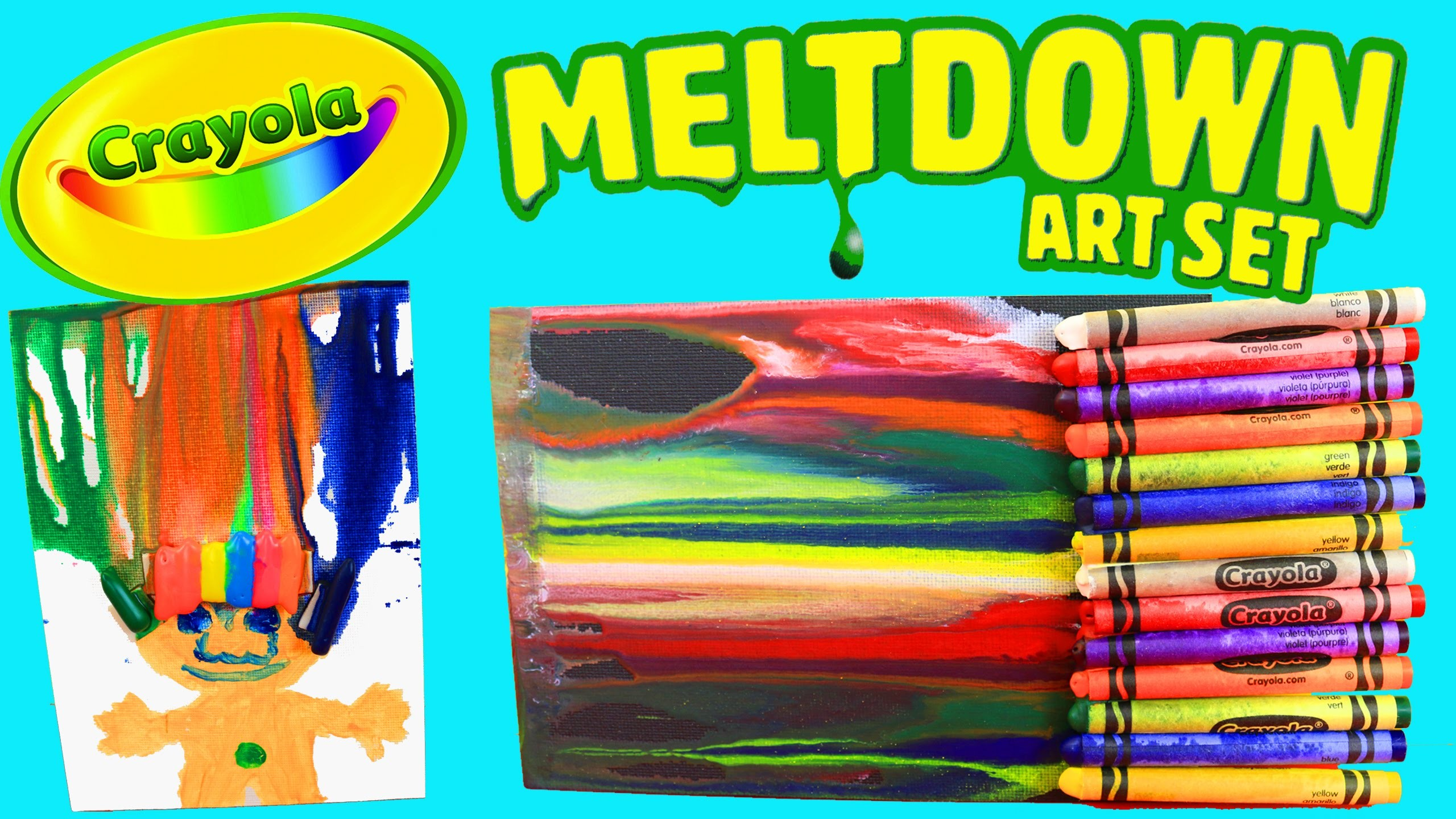 MELTING CRAYONS! Crayola Meltdown Art Set + Fun Paintings DIY Crafts for Kids DisneyCarToys