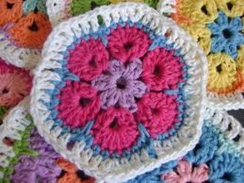 African Flower hexagon blanket Crochet in Tamil