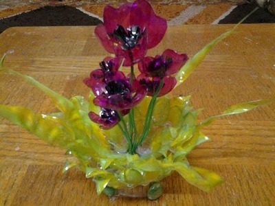 Best Out Of Waste Plastic bottles transformed to Lovely Poppy flowers Showpiece