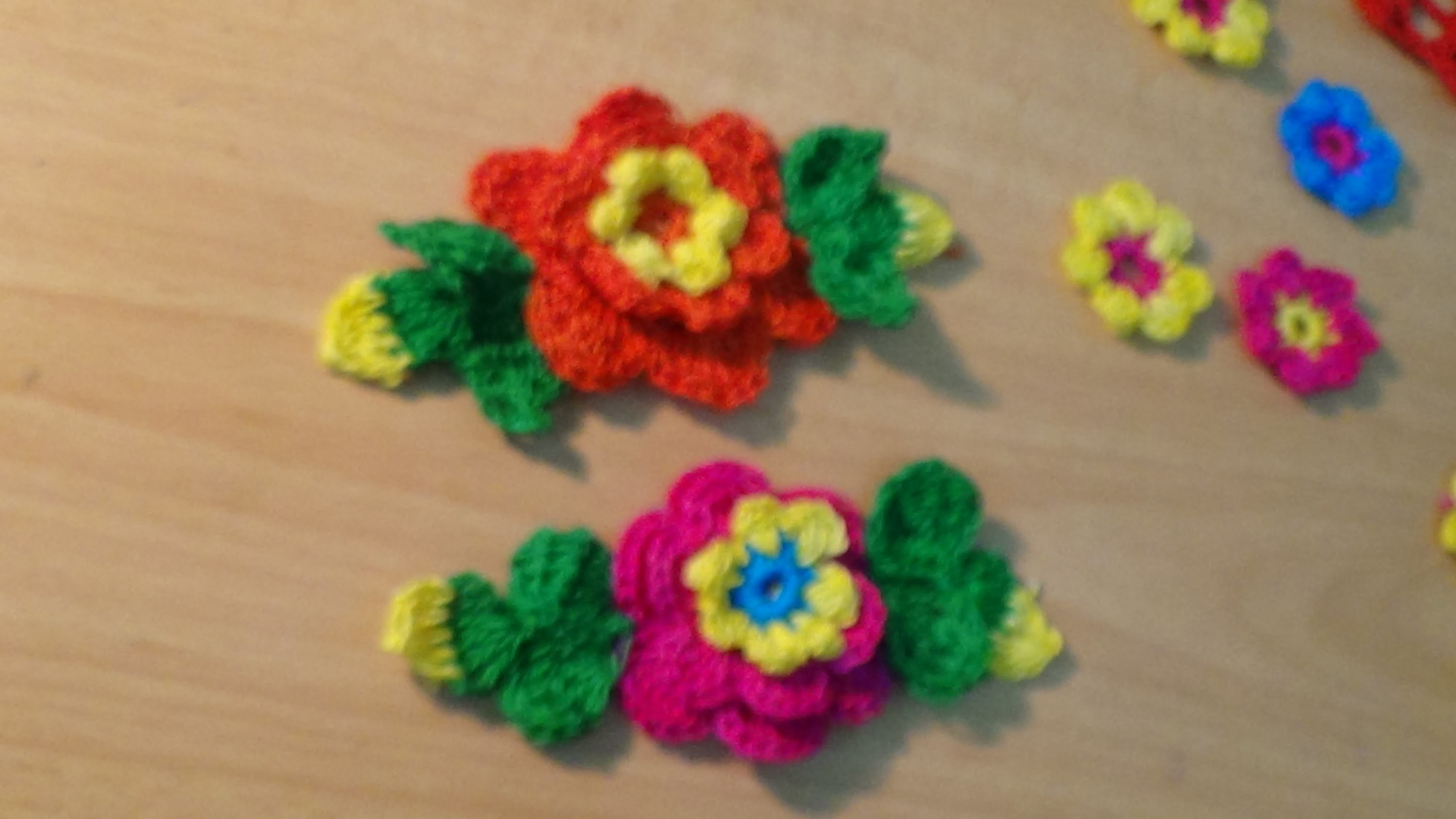 CROCHET FLOWER WITH LEAVES PART-2