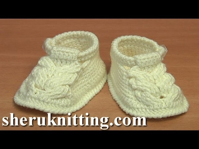 Crochet Sole For Baby Shoes Tutorial  54 Part 1 of 3 Crochet Baby Cable Stitch Buckle Shoes