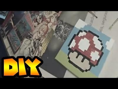 DIY | Super Mario Mushroom pixel painting, 8 bit, square painting