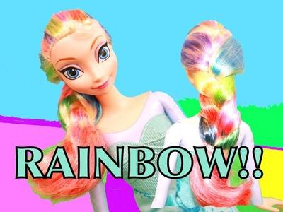 FROZEN Elsa RAINBOW HAIR Makeover Tutorial Disney Queen Princess Barbie Parody AllToyCollector