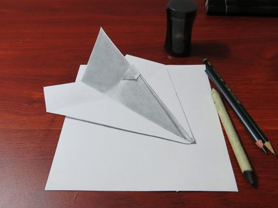 How to Draw a 3D Paper Airplane | Realistic Drawing