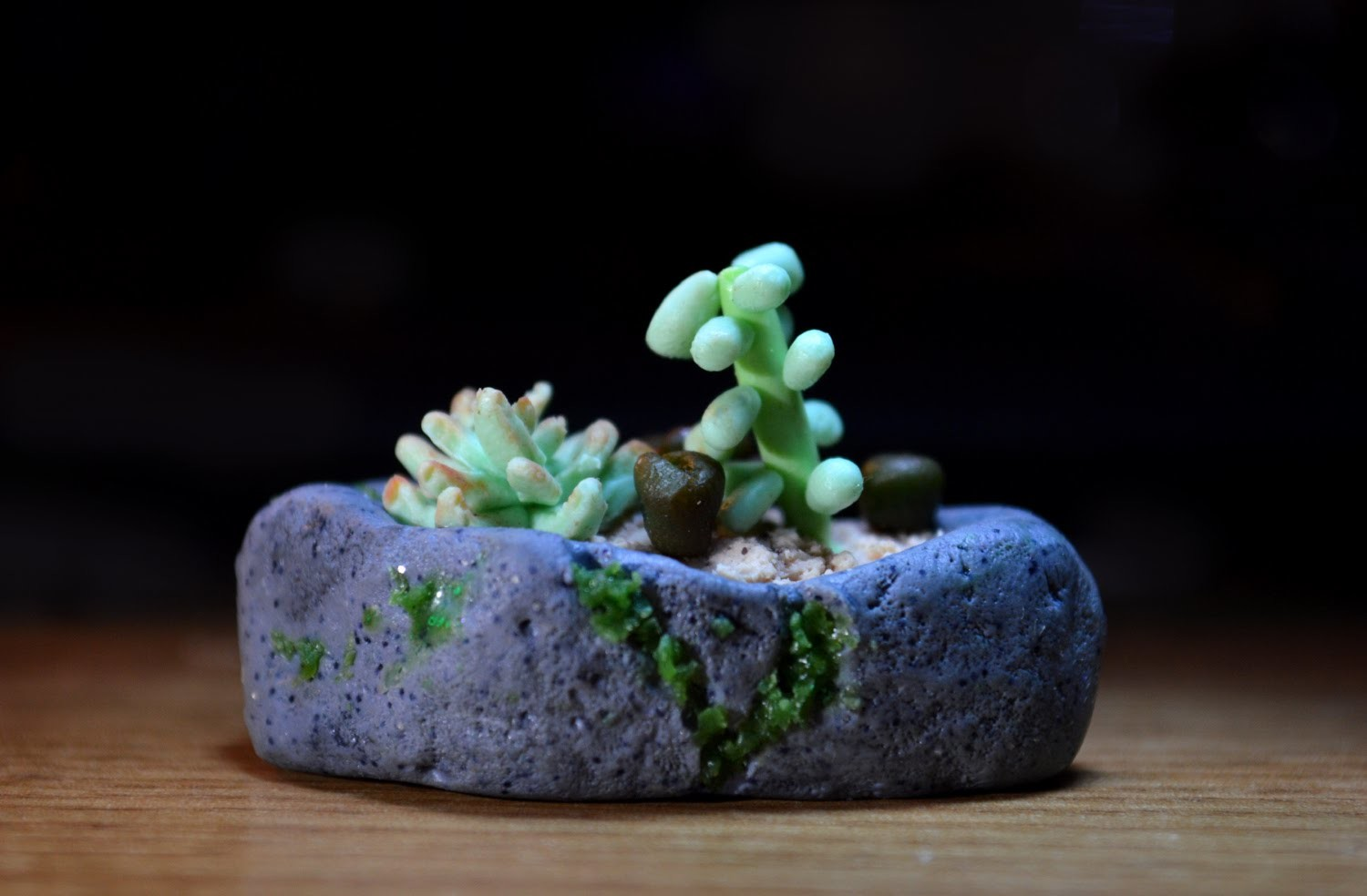 Succulents polymer clay tutorial miniature mossy rock garden