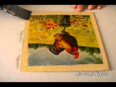Technique collage de papier serviette et craquelage