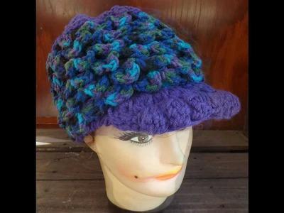 Unique Womens Crochet Crocodile Stitch Newsboy Hat in Purple and Peacock Ombre