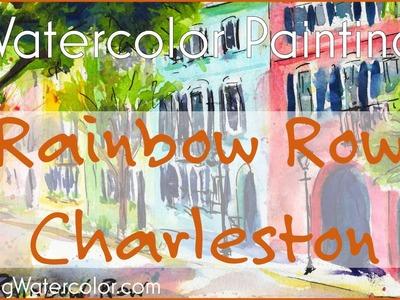 Watercolor Painting Charleston, Rainbow Row