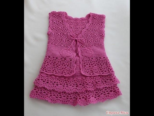 Crochet dress| How to crochet an easy shell stitch baby. girl's dress for beginners 22