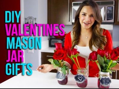 DIY Chalkboard Mason Jar Vases For Valentine's Day