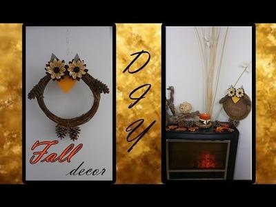 DIY Fall Decor|DIY Owl Fall Decoration|DIY Kanzashi Flower|DIY Ideas For Fall|Flower Tutorial
