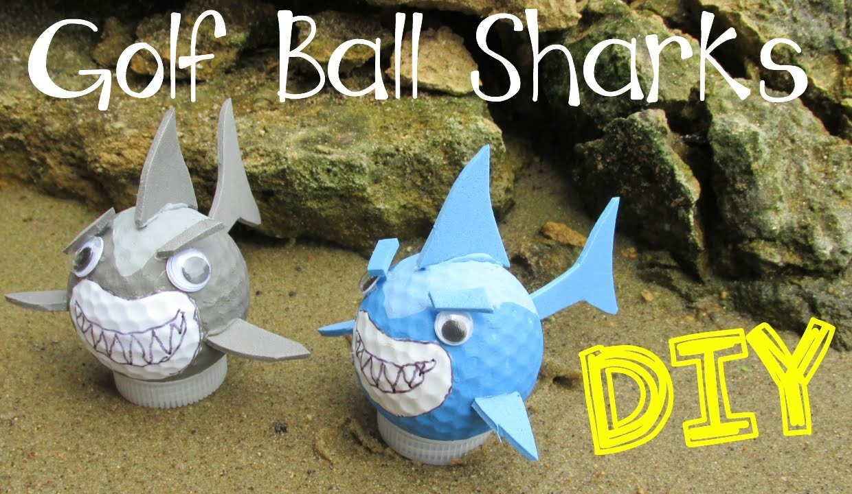 DIY Golf Ball Sharks for Shark Week!