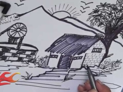 DIY How to Draw Landscape -  JK Arts 193