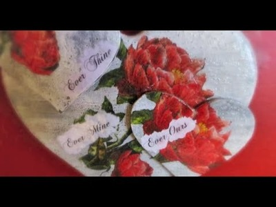 DIY Valentines day Decoupage on Wooden heart Ever Thine  Immortal Beloved