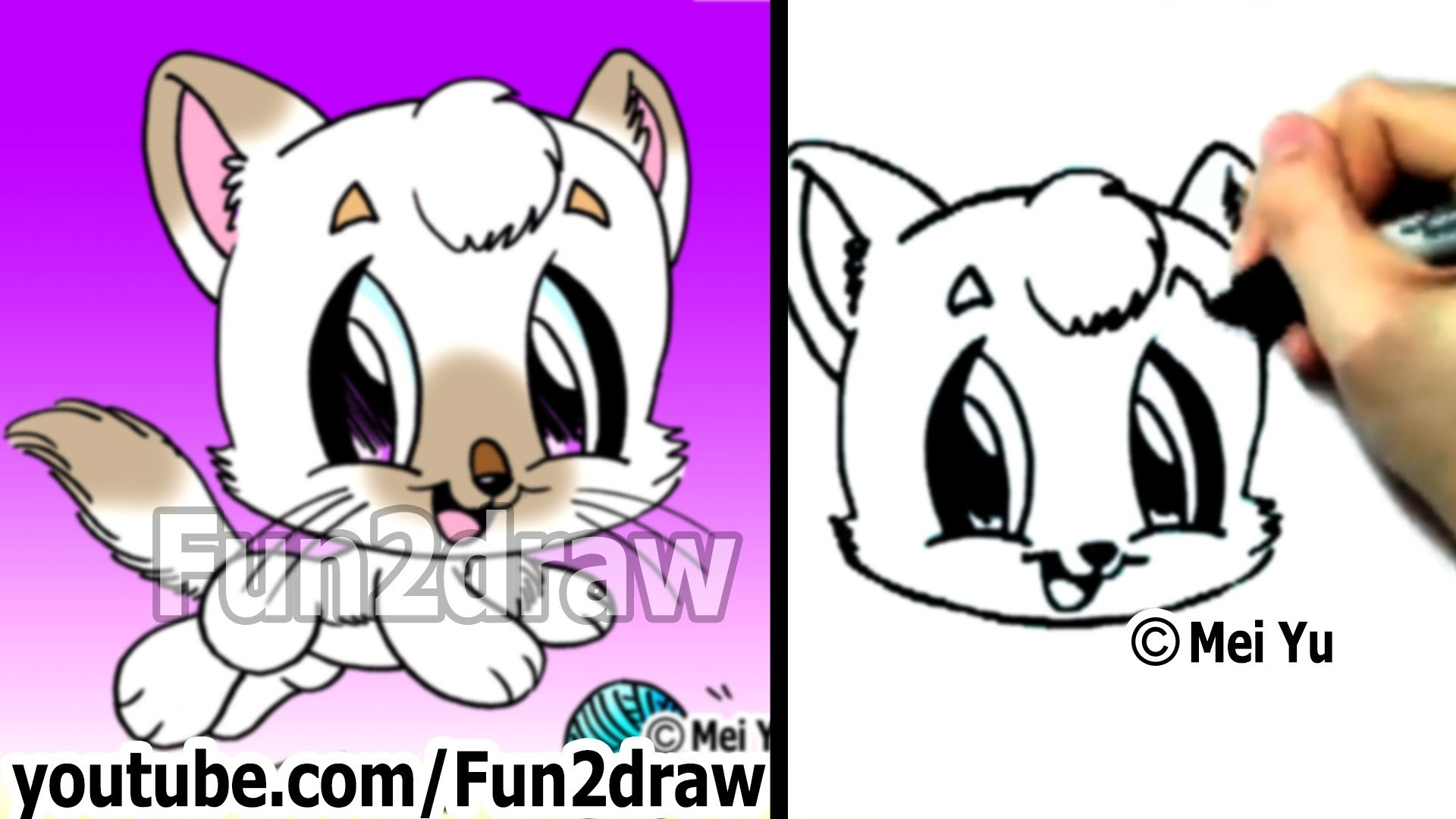 How to Draw a Cat - Learn to Draw - Cute Drawings - Fun2draw