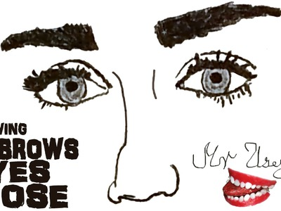 How to draw Realistic EYES and NOSE and EYEBROWS Step by Step Easy, draw easy stuff but cool 3D