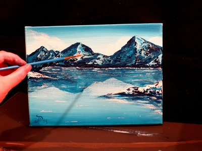 How to paint a mountain and lake - winter landscape scene STEP by STEP
